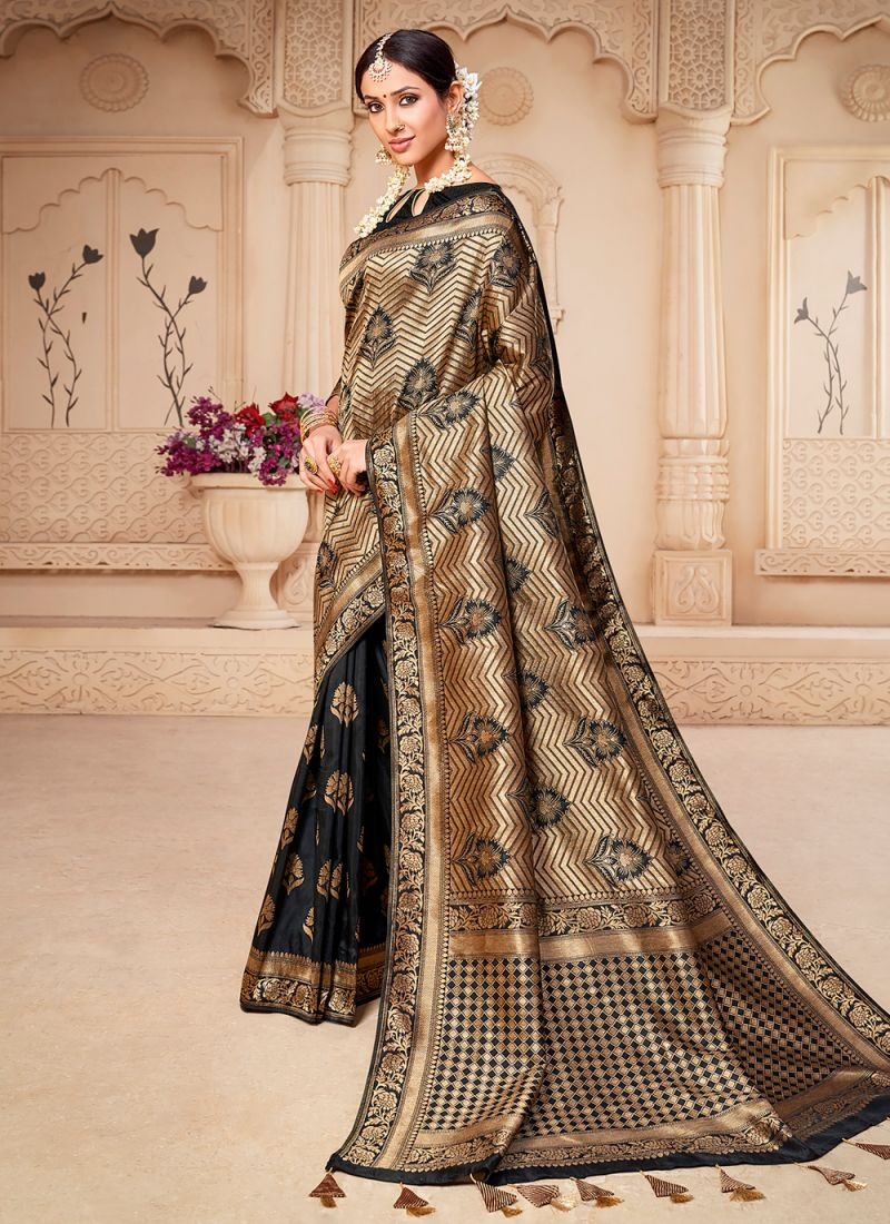 Weaving Banarasi Silk Designer Saree in Black