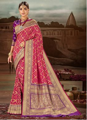 Weaving Banarasi Silk Magenta Traditional Designer Saree