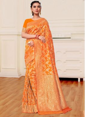 Weaving Banarasi Silk Orange Designer Saree