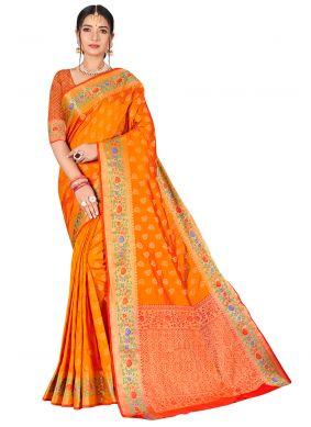 Weaving Banarasi Silk Orange Traditional Designer Saree
