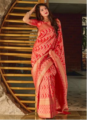 Weaving Banarasi Silk Red Designer Saree