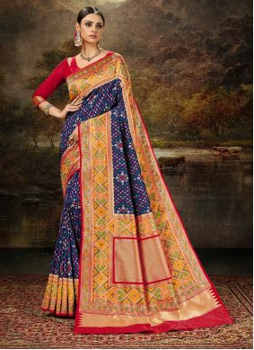 Multi Colour Weaving Banarasi Silk Saree