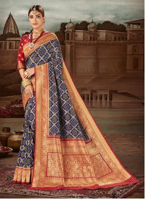Weaving Banarasi Silk Traditional Designer Saree in Blue