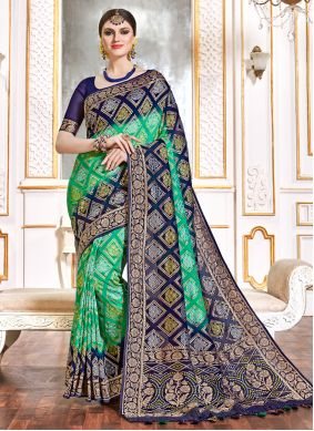 Weaving Blue and Green Viscose Bollywood Saree