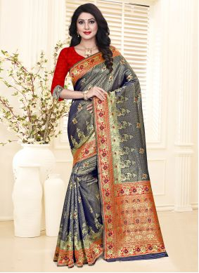 Weaving Blue and Red Silk Designer Traditional Saree