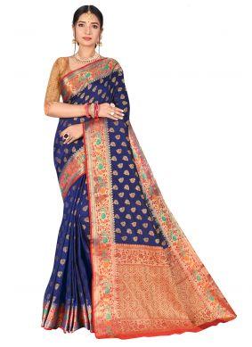 Weaving Blue Banarasi Silk Traditional Designer Saree
