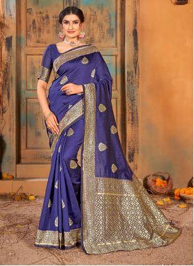 Weaving Blue Classic Saree