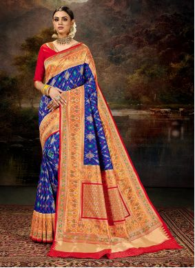 Weaving Work Blue Silk Saree