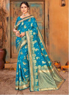 Turquoise Weaving Ceremonial Classic Saree