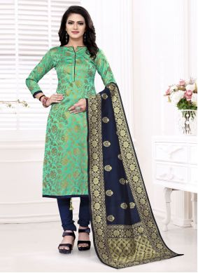 Sea Green Weaving Churidar Suit