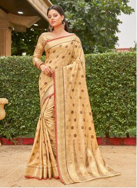 Cream Handloom Cotton Weaving Classic Saree