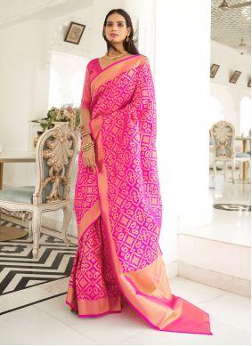 Pink Handloom Silk Weaving Classic Saree
