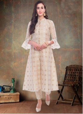 Weaving Cream Party Wear Kurti
