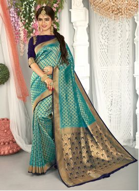 Teal Weaving Engagement Traditional Saree