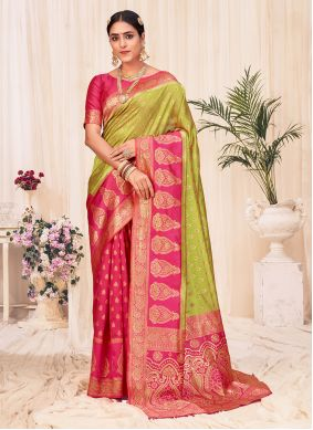 Weaving Green and Pink Designer Traditional Saree