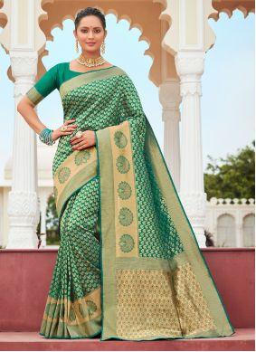Weaving Green Banarasi Silk Designer Traditional Saree