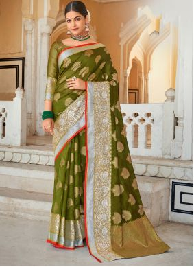 Weaving Green Organza Designer Saree