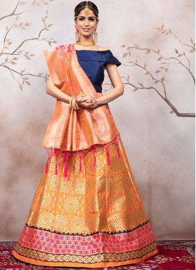 Weaving Jacquard Orange A Line Lehenga Choli