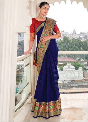 Weaving Khadi Silk Blue Silk Saree