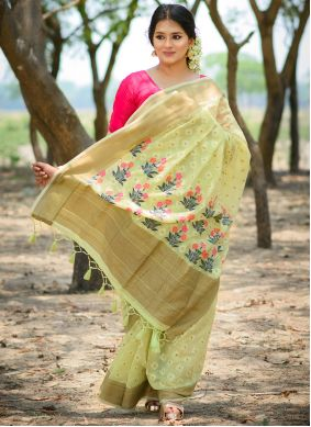 Weaving Linen Traditional Saree in Green