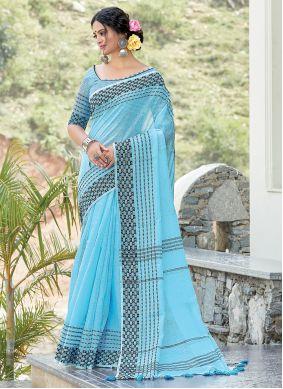 Weaving Linen Turquoise Designer Traditional Saree