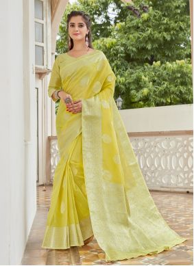 Weaving Linen Yellow Classic Saree