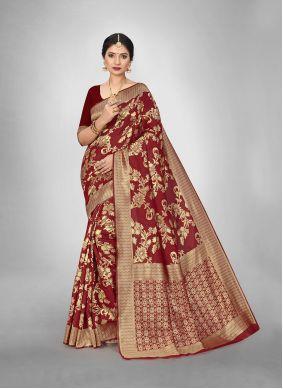 Weaving Maroon Art Silk Trendy Saree