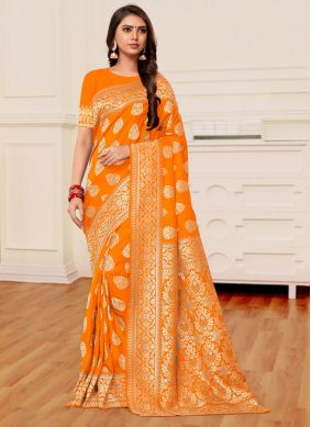 Weaving Mustard and Orange Banarasi Silk Half N Half Designer Saree