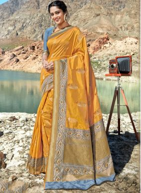 Weaving Mustard Classic Saree