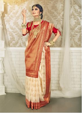 Weaving Off White and Red Art Silk Traditional Saree