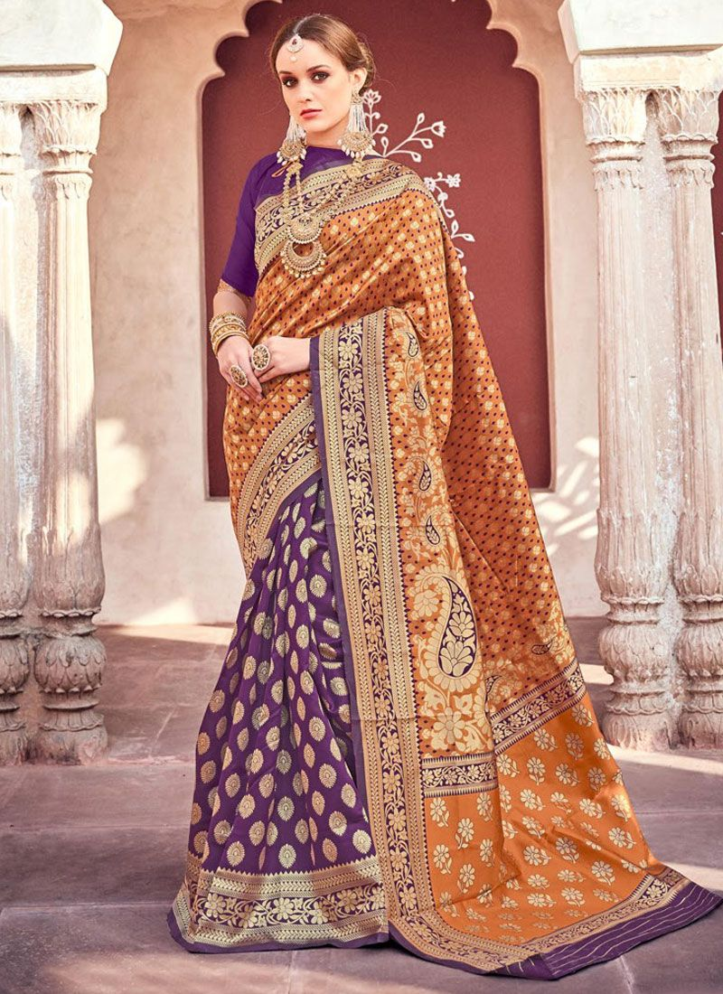 Weaving Orange and Purple Classic Saree