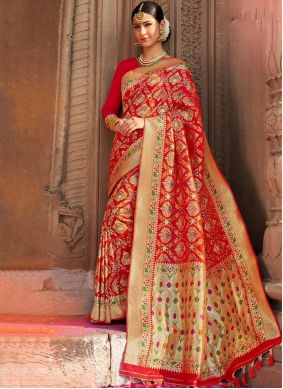 Red Weaving Party Classic Saree