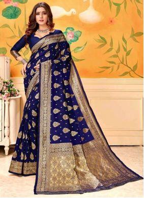 Blue Art Silk Weaving Trendy Saree