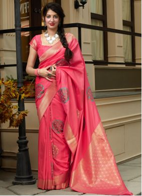 Weaving Pink Contemporary Saree