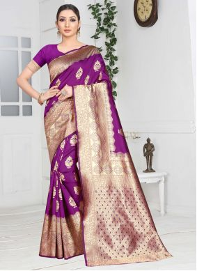Weaving Purple Contemporary Saree