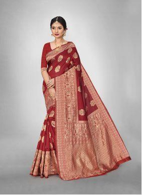 Weaving Red Art Silk Trendy Saree