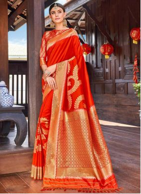 Weaving Red Classic Saree