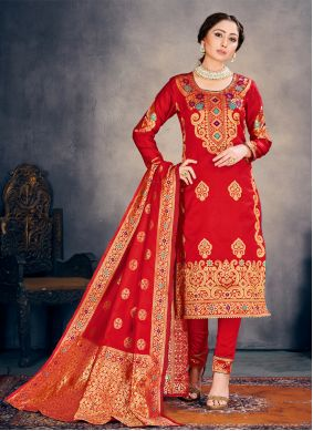 Weaving Red Pant Style Suit