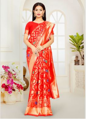 Weaving Red Poly Silk Traditional Saree