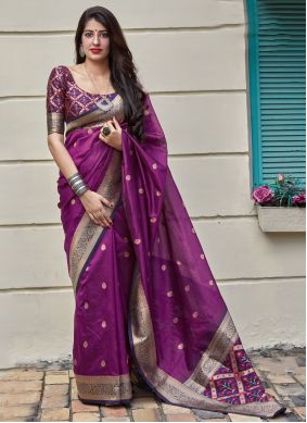 Weaving Silk Classic Saree in Purple
