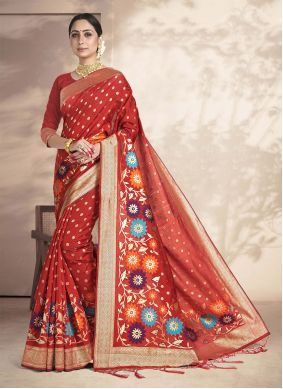 Red Weaving Work Silk Saree For Ceremonial