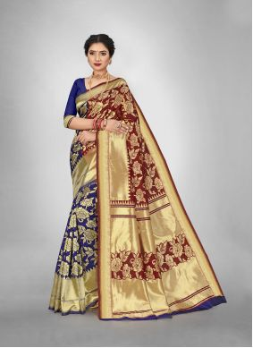 Weaving Maroon Silk Saree For Casual