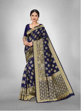 Blue Weaving Work Silk Saree