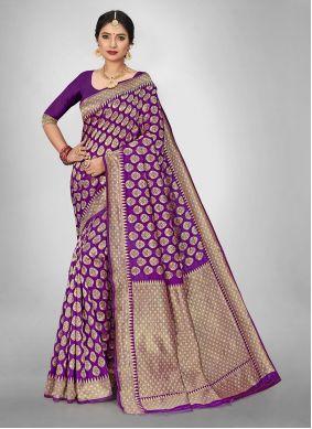 Purple Weaving Silk Saree For Casual