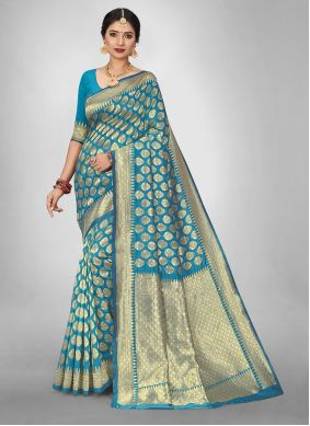 Turquoise Weaving Silk Saree For Casual