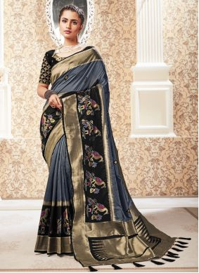 Weaving Silk Traditional Designer Saree in Black and Grey