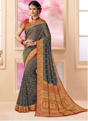 Weaving Silk Trendy Saree in Brown