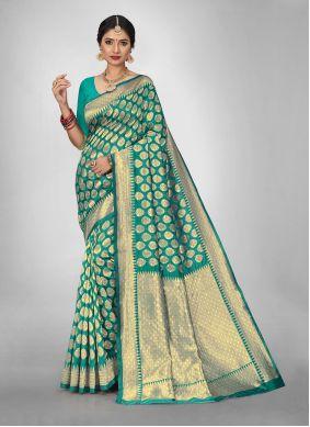 Weaving Teal Jacquard Silk Saree