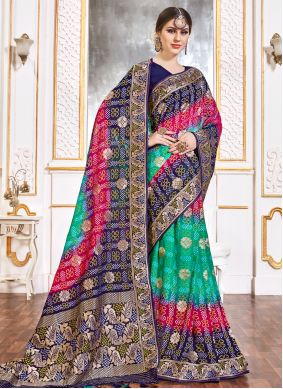 Weaving Viscose Contemporary Saree in Multi Colour