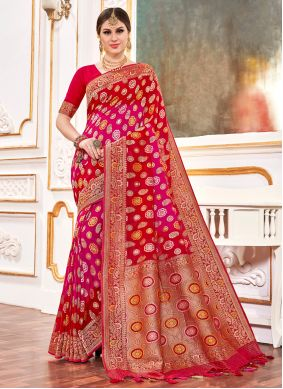 Weaving Viscose Traditional Saree in Pink